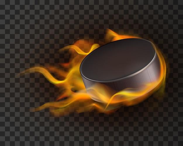 Realistischer eishockey-puck im feuer Kostenlosen Vektoren