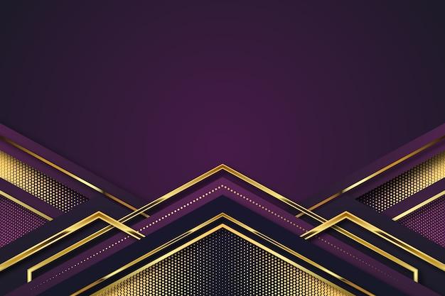 Realistischer eleganter geometrischer formhintergrund in goldenem und in violettem Kostenlosen Vektoren