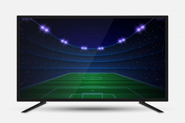 Realistischer fernsehbildschirm. moderne fernseh-lcd-platte mit fußballspiel Premium Vektoren