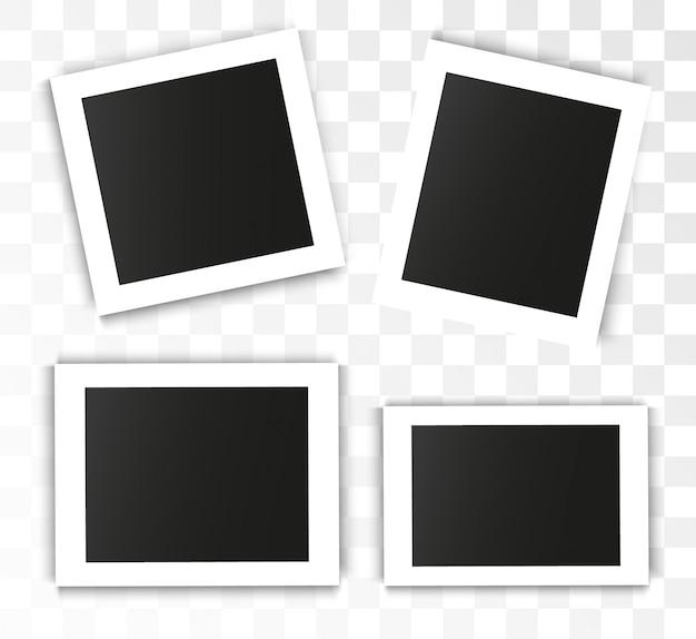 Realistischer fotorahmen auf transparentem hintergrund. satz foto Premium Vektoren