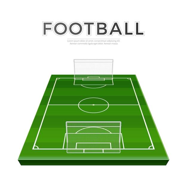 Realistischer fußballspielplatz mit toren. vektor fußball rasen fußball meisterschaft Premium Vektoren