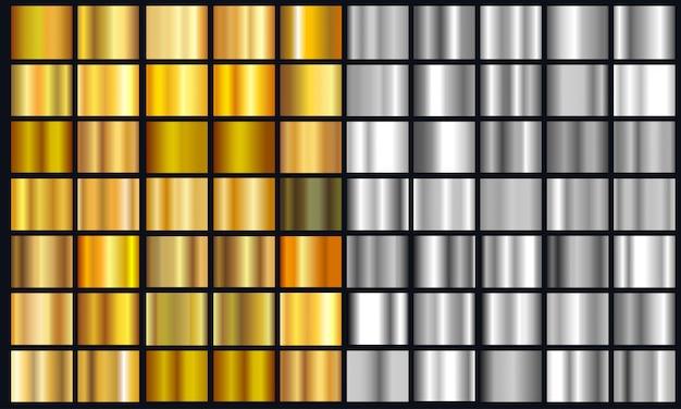 Realistischer gelber und silberner steigungs-beschaffenheitssatz. glänzender goldener metallfoliensteigungssatz Premium Vektoren