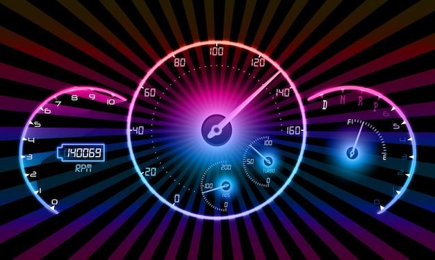 Realistischer geschwindigkeitsmesser auf schwarzem hintergrund Premium Vektoren