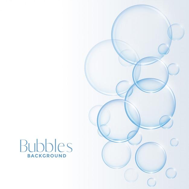 Realistischer glänzender wasser- oder seifenblasenhintergrund Kostenlosen Vektoren
