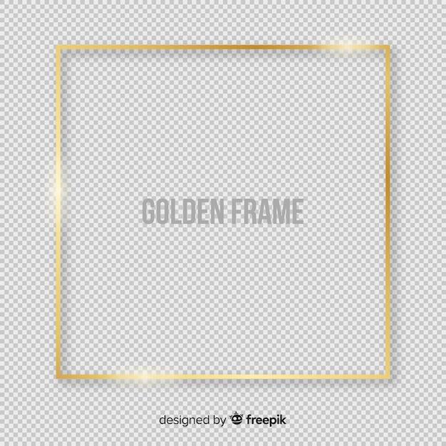 Realistischer goldener quadratischer rahmen Kostenlosen Vektoren