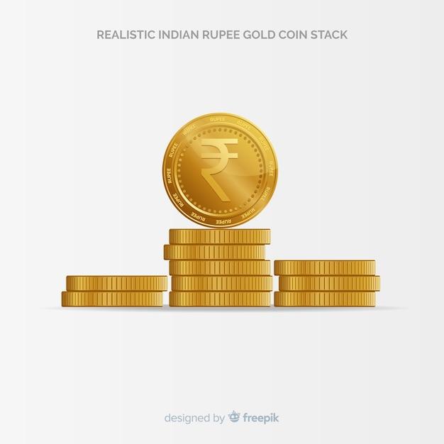 Realistischer goldmünzenstapel der indischen rupie Kostenlosen Vektoren