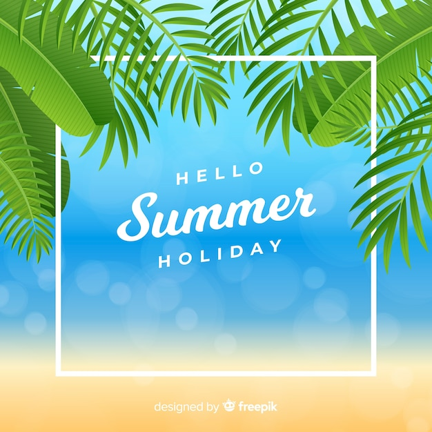 Realistischer hallo sommerhintergrund am strand Kostenlosen Vektoren