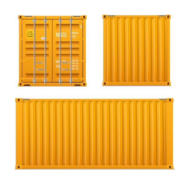 Realistischer heller gelber frachtbehältersatz. das konzept des transports. geschlossener behälter. vorne, hinten und seitlich. realistische vektoren festgelegt Premium Vektoren