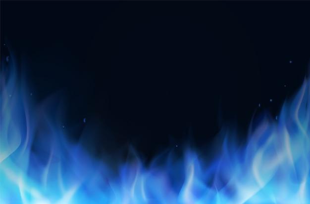 Realistischer hintergrund der blauen feuerflamme Premium Vektoren