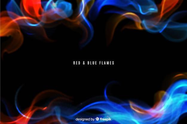 Realistischer hintergrund der roten und blauen flammen Kostenlosen Vektoren