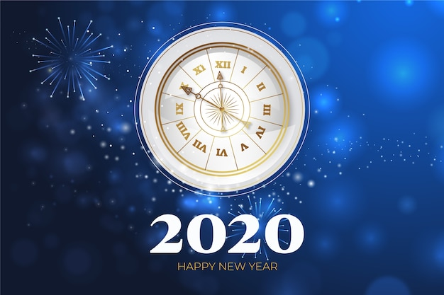 Realistischer hintergrund der uhr des neuen jahres 2020 Kostenlosen Vektoren