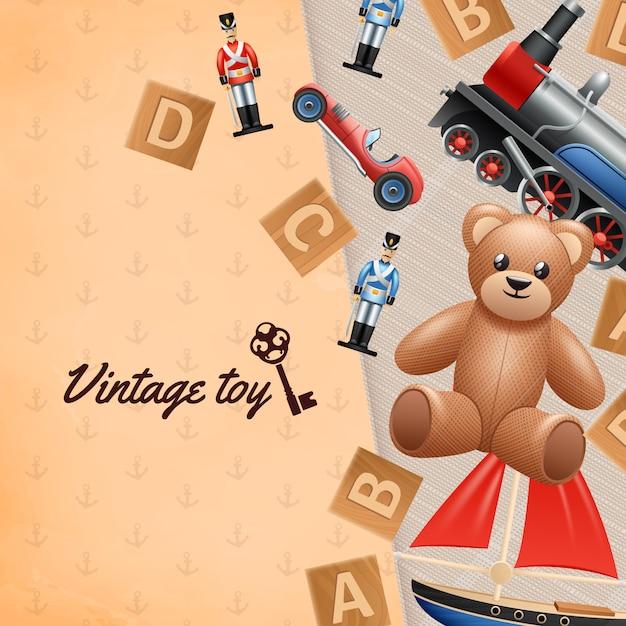 Realistischer hintergrund der weinlese spielt mit spielzeugsoldatauto und -teddybären Kostenlosen Vektoren