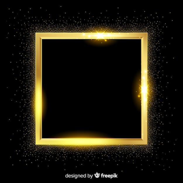 Realistischer hintergrund des goldenen quadratischen rahmens Kostenlosen Vektoren