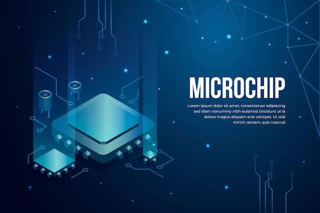 Realistischer hintergrund des mikrochip-prozessors Premium Vektoren