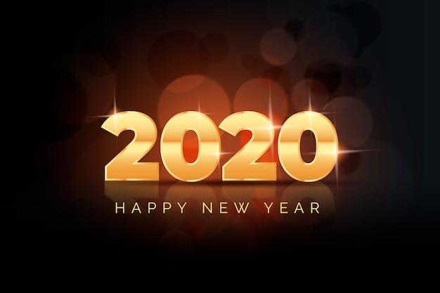 Realistischer hintergrund des neuen jahres 2020 Kostenlosen Vektoren