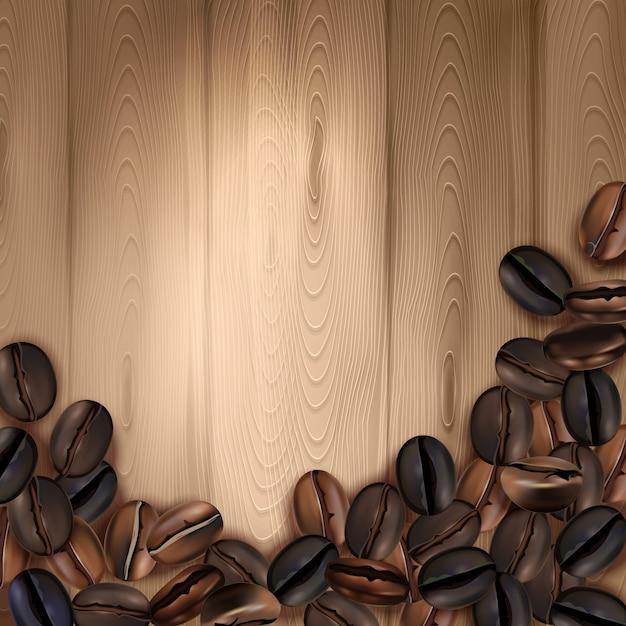 Realistischer hintergrund mit röstkaffeebohnen auf holzoberflächenvektorillustration Kostenlosen Vektoren