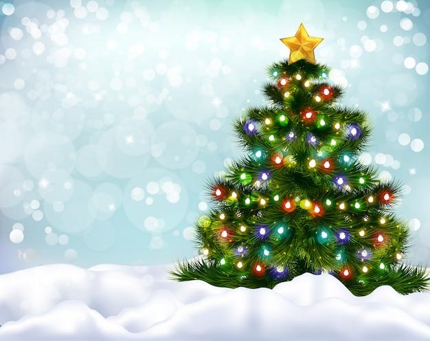 Realistischer hintergrund mit schön geschmücktem weihnachtsbaum und schneebänken Kostenlosen Vektoren