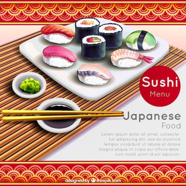 Realistischer hintergrund mit stäbchen und sushi Kostenlosen Vektoren