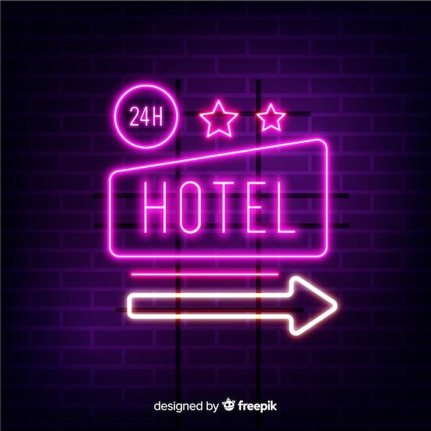 Realistischer hotelneonzeichenhintergrund Kostenlosen Vektoren