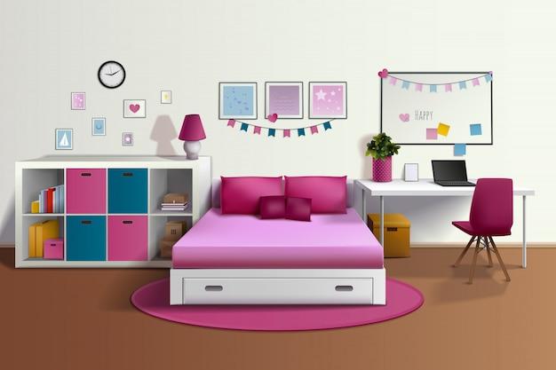 Realistischer innenraum des mädchenraums mit rosa bettstuhl-bücherregalfoto gestaltet schreibtisch Kostenlosen Vektoren