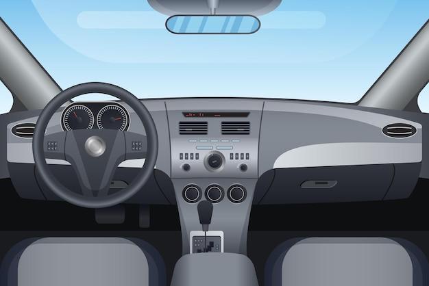 Realistischer innenraum eines dunklen fahrzeugautos Premium Vektoren