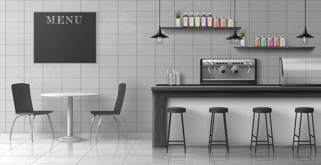 Realistischer innenvektor des modernen kaffeestubedachbodens Kostenlosen Vektoren