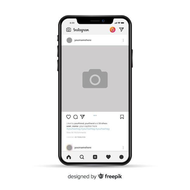 Realistischer instagram-fotorahmen auf dem iphone Kostenlosen Vektoren