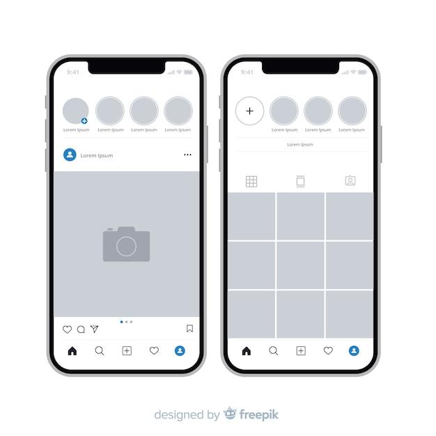 Realistischer instagram-fotorahmen auf iphone-sammlung Kostenlosen Vektoren