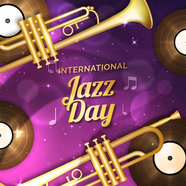 Realistischer internationaler jazz-tag mit trompeten Kostenlosen Vektoren