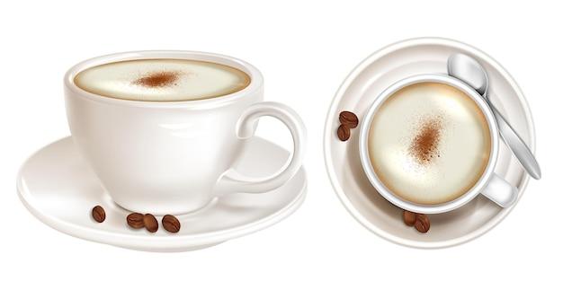 Realistischer kaffee mit luftschaum-draufsicht und seitenansicht Premium Vektoren