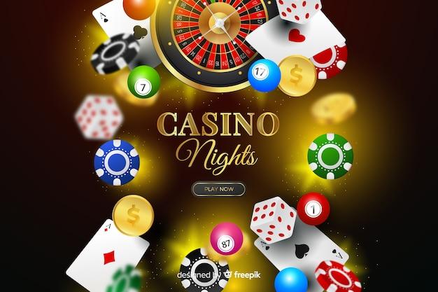 Realistischer kasinoelementhintergrund Kostenlosen Vektoren