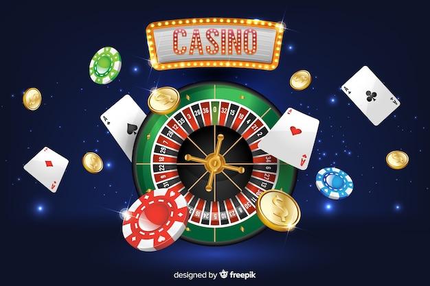Realistischer kasinohintergrund Kostenlosen Vektoren