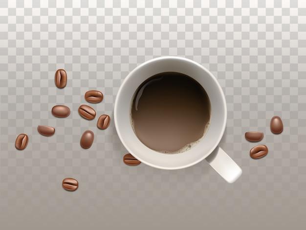 Realistischer kleiner tasse kaffee 3d mit kaffeebohnen Kostenlosen Vektoren