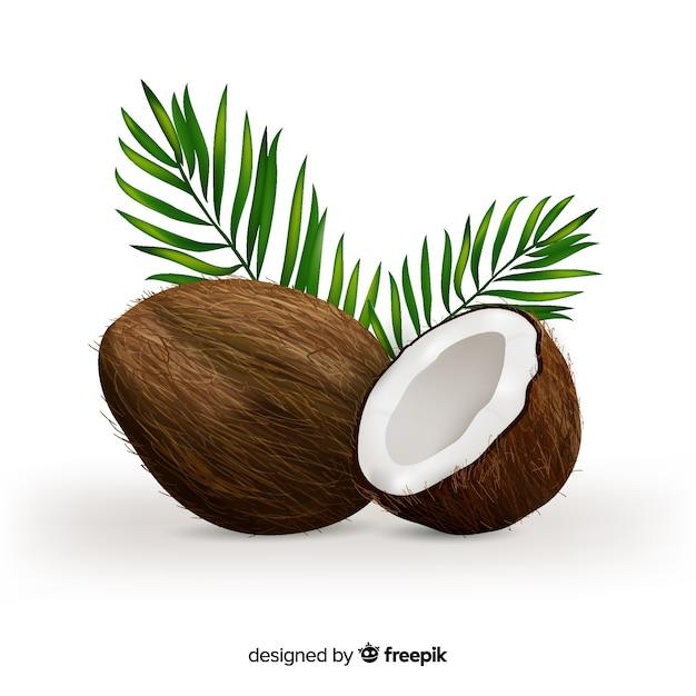 Realistischer kokosnusshintergrund Premium Vektoren
