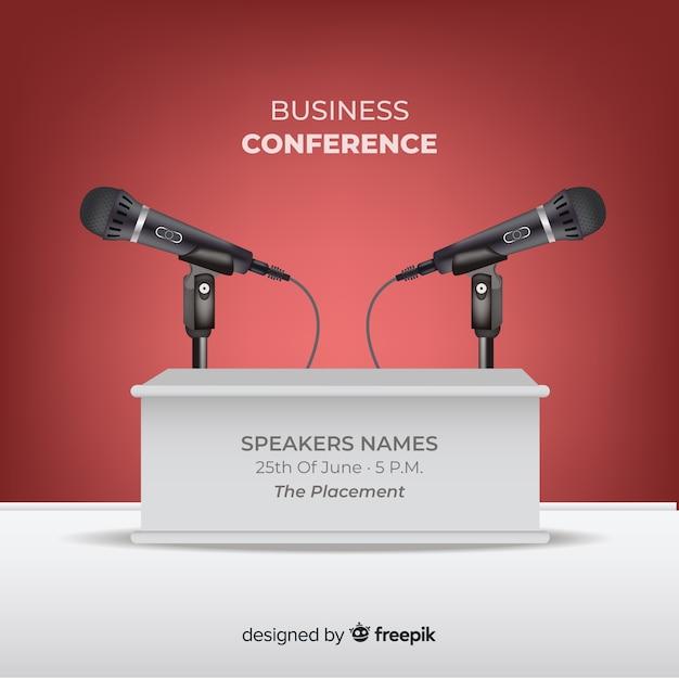 Realistischer konferenzpodiumhintergrund Kostenlosen Vektoren