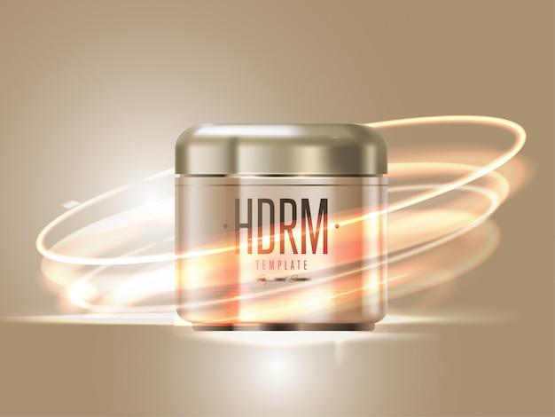 Realistischer kosmetischer goldener sahnebehälter Premium Vektoren