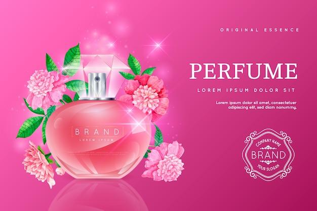 Realistischer kosmetischer hintergrund mit parfümflasche Kostenlosen Vektoren