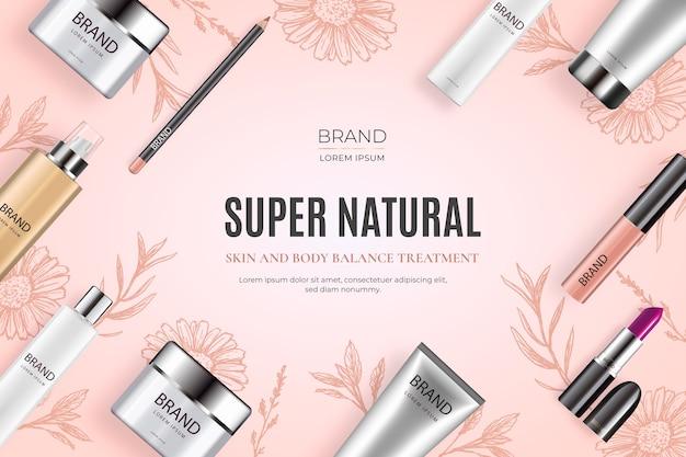 Realistischer kosmetischer hintergrund mit schönheitsprodukten Kostenlosen Vektoren