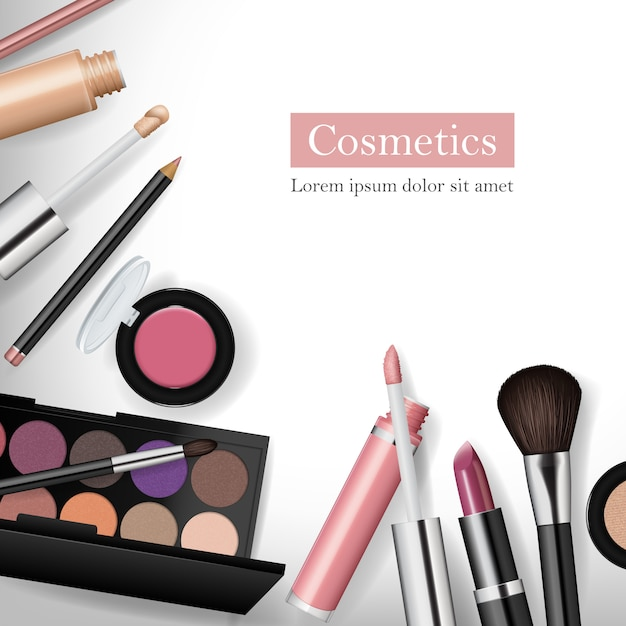 Realistischer kosmetischer werkzeugmodellsatz Premium Vektoren