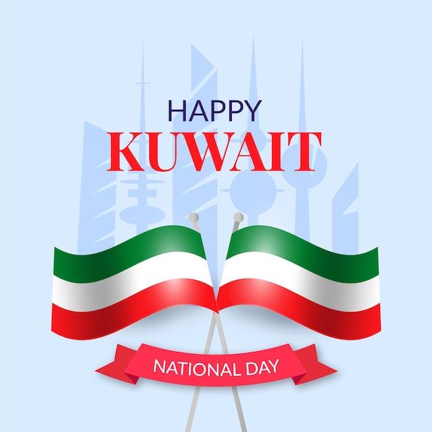 Realistischer kuwait-nationalfeiertag mit flagge Kostenlosen Vektoren