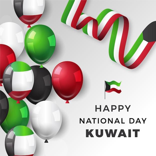 Realistischer kuwait-nationalfeiertag mit luftballons Kostenlosen Vektoren