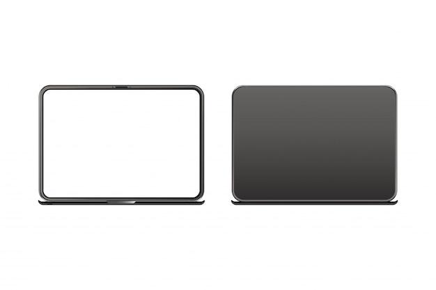 Realistischer laptop, vorderseite mit dem schirm und rückseite lokalisiert auf weiß Premium Vektoren