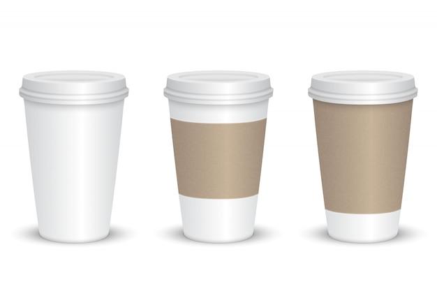 Realistischer leerer kaffeetassesatz lokalisiert. vektor-illustration Premium Vektoren