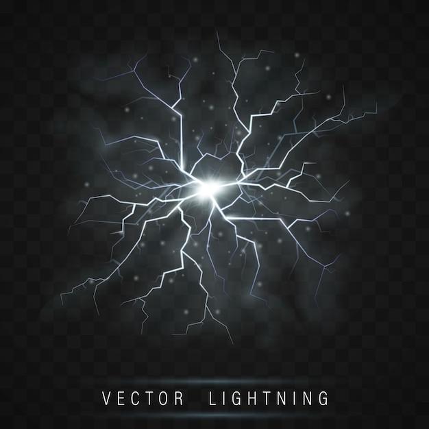 Realistischer leuchtender blitzblitzeffekt Premium Vektoren