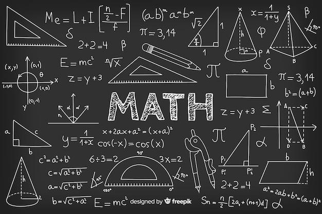 Realistischer mathetafelhintergrund Premium Vektoren