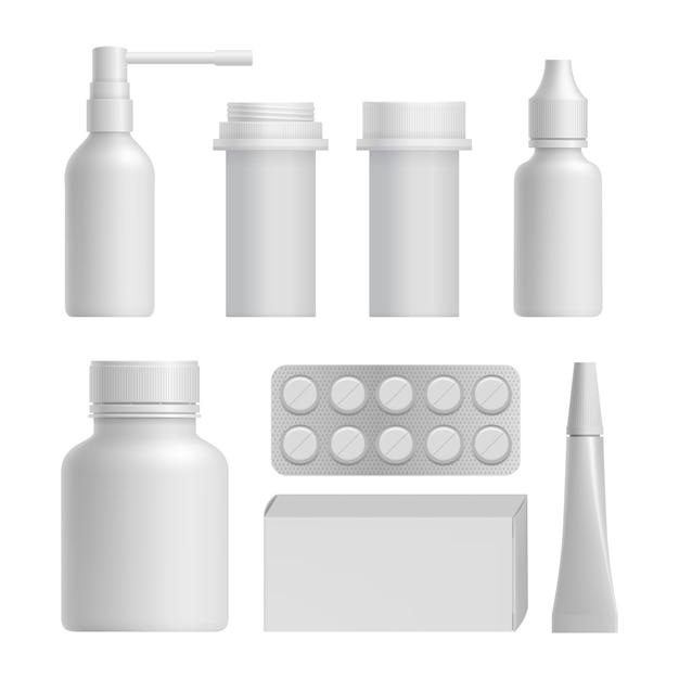 Realistischer medizinischer flaschenspott herauf satz Premium Vektoren