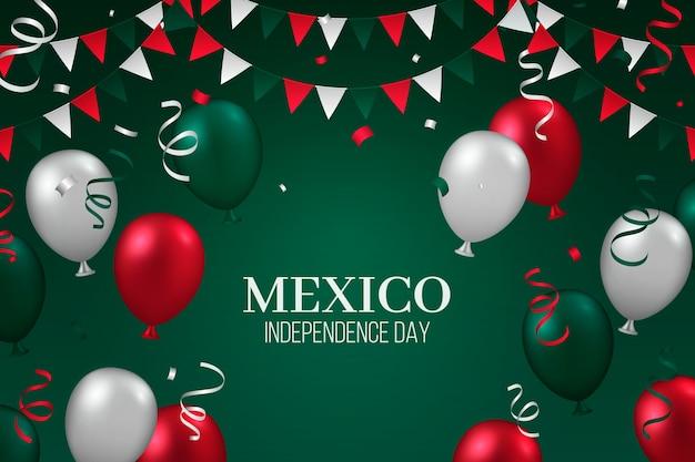 Realistischer mexikanischer unabhängigkeitstagballonhintergrund Kostenlosen Vektoren