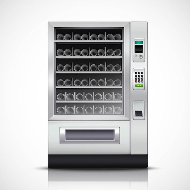Realistischer moderner automat mit stahlgehäuse und elektronischem bedienfeld Kostenlosen Vektoren