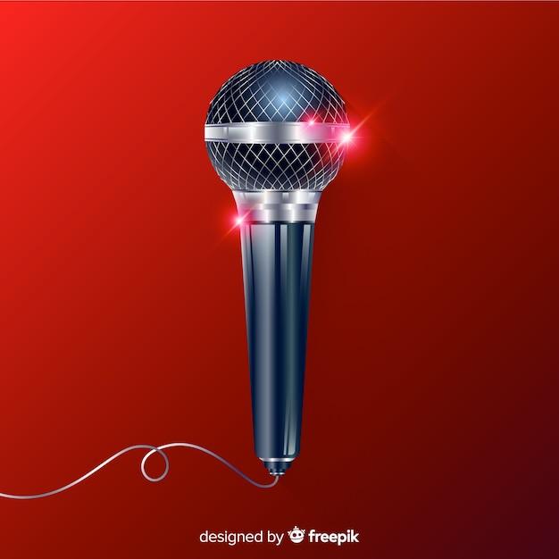 Realistischer moderner mikrofonhintergrund Kostenlosen Vektoren