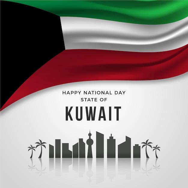 Realistischer nationalfeiertag von kuwait Kostenlosen Vektoren